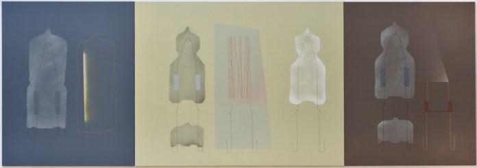 Ana Sluga - Triptih, akril i sprej na platnu, 150x120cm, 2016.