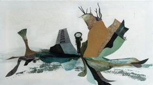 Chronnically late 1 - collage on canvas, 90x50cm, 2018.