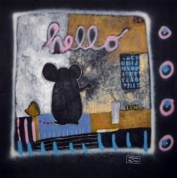 Tatjana Politeo - Hello lemon, kombinirana tehnika na platnu, 130x130cm, 2018.