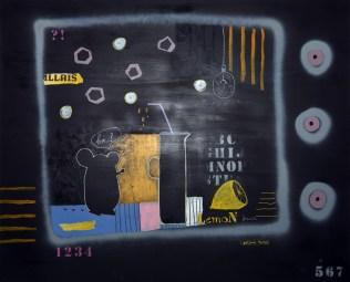 Tatjana Politeo - Lemon juice, kombinirana tehnika na platnu, 80x100cm, 2018.