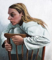 Autoportret na stolici - akril na ljepenci, 30x35cm, 2018.