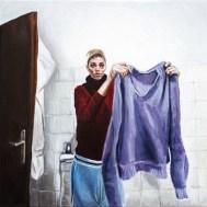 Autoportret s džemperom - akril na platnu, 30x30cm, 2017.