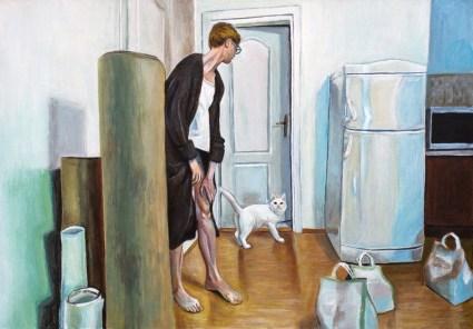 Autoportret s mačkom i vrećama pijeska - akril na ljepenci, 35,5x50cm, 2017.