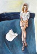 Autoportret s mačkom na krevetu - akril na ljepenci, 35,5x50cm, 2016.