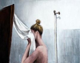 Autoportret s ručnikom - akril na kaširanom platnu, 24x30cm, 2018.