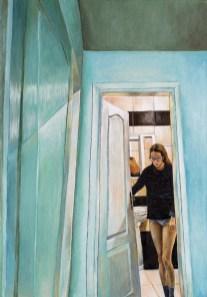 Iz kupatila - akril na ljepenci, 35,5x50cm, 2017.