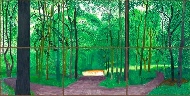"""David Hockney - """"Woldgate Woods, 26., 27. i 30. srpnja 2006."""", ulje na šest platna (91,4 cm x 121,9 cm dimenzije svakog platna), 182,9 x 365,8 cm ukupno © David Hockney, foto: Richard Schmidt"""