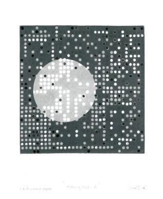 Kompozicija A, 2016., linorez/pečat, 22x26