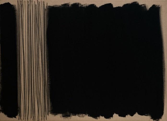 """""""Black, Karbon & Black again"""", 80x110cm, akril i ugljen na platnu, 2017."""