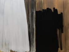 """White in the evening"", 150x200cm, akril i ugljen na platnu, 2017."
