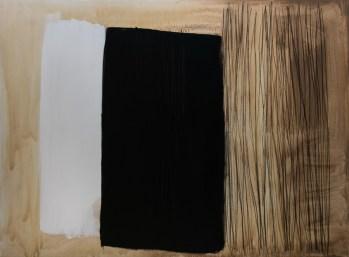 """""""Kroz crno"""", 150x200cm, akril i ugljen na platnu, 2017."""