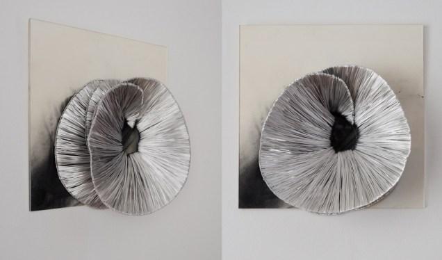 Bijela rozeta i crna rupa; aluminij, pastel, pleksiglas; 50x50x20cm