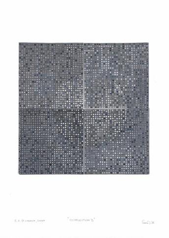 Kompozicija B, 2017., linorez/pečat, 55x40cm