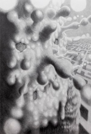 Lijevi, 2018., olovka na papiru, 110 x 75 cm