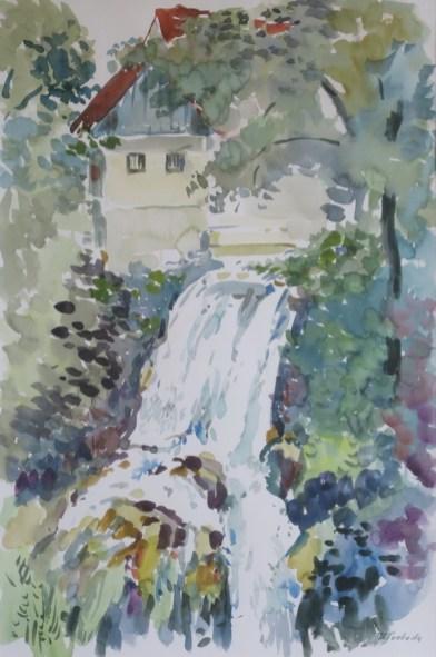Milivoj Svoboda - Rastoke I - Slunj, akvarel 45x30cm, 2007.
