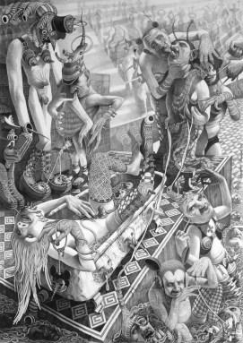 Napad smijeha u kupaonici, 1994., olovka na papiru, 150 x 110 cm