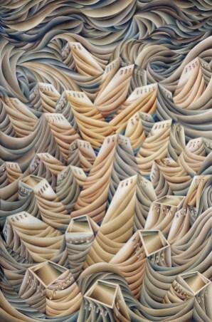 Damir Facan-Grdiša - Grad, akvarel na papiru, 150x100cm, 2020.