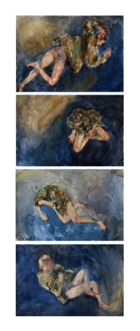 Mirela Blažević - Distopija; akvarel na papiru (kvadriptih), 20x30cm, 2020