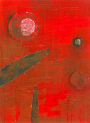 Karla Čurčinski - Usamljenost; akril, kolaž, ugljen, kreda, bijeli tuš na papiru, 22x26cm, 2015.