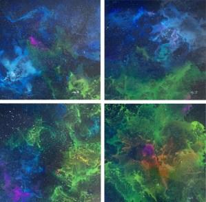 Maja Pejčinović - Galaxies; akril i uljne pastele na platnu (kvadriptih), 50x50cm (jedan segment), 2018.