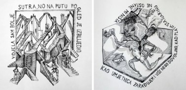 Ivana Bajcer - Bolje sutra; Krov nad glavom; tuš i rapidograf na papiru, 30x30cm, 2020.