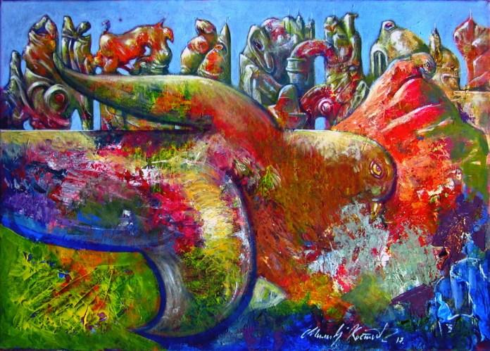 Milivoj Kostić - Utopljeni svijet 3; akril na platnu, 60x40cm