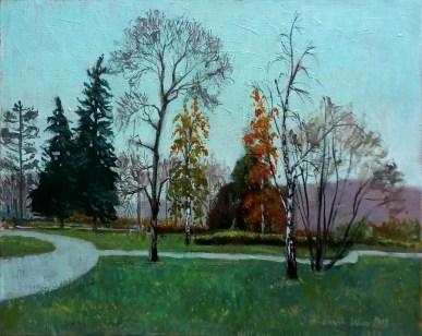 Ivan Kocić - Park, ulje na platnu, 40×50 cm, 2018