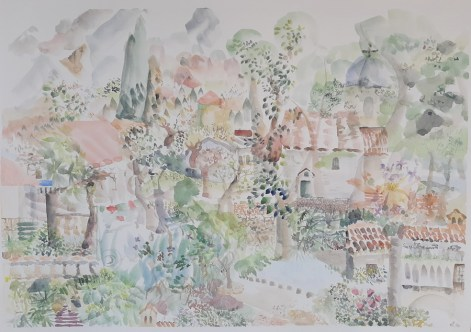 Risan landscape, 50 x 70, akvarel, 2020.