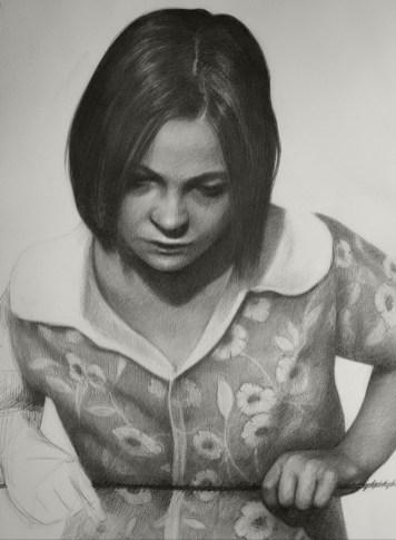 Nestajanje - ugljen na akvarel papiru, 70x50cm