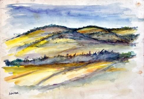 Pejzaž - akvarel, 27,5x39cm, 1964.