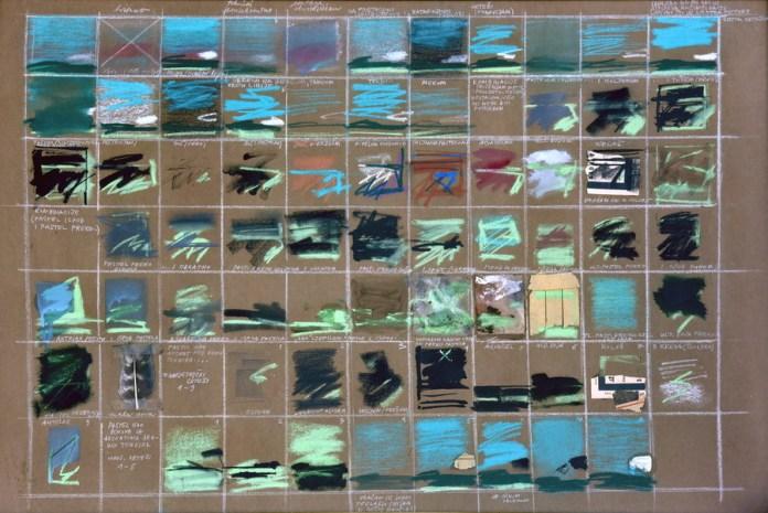 Varijacije pejzaža - kombinirana tehnika, 68x100cm, 1978.