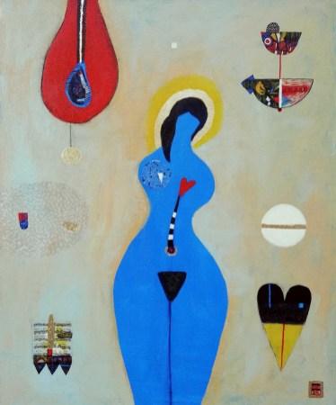 Lona Verlich - Woman in blue - uterus, akril i dekupaž na platnu, 60x50cm, 2020.