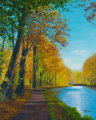 Acrylic landscape painting of the Delaware Canal towpath near the Thompson Neely House in fall.