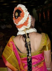 A bride adorned with flowers