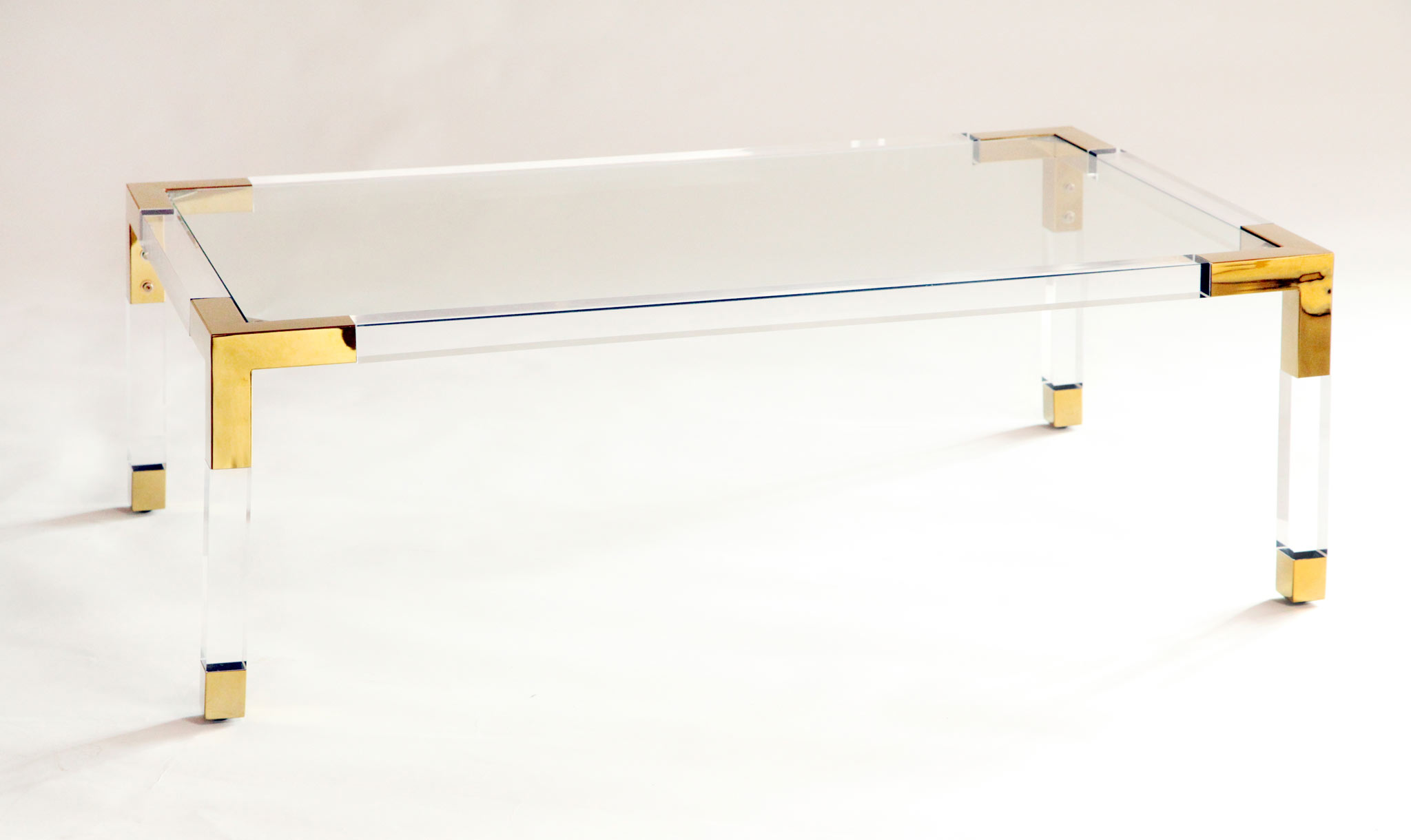 acrylic and gold coffee table