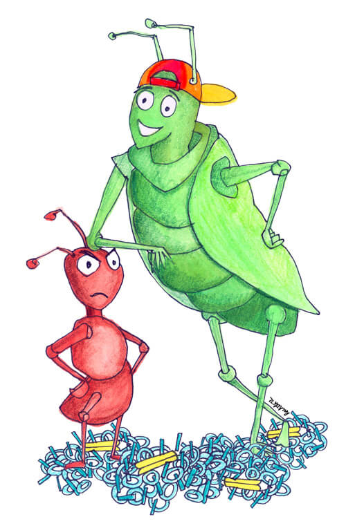 the ant and the grasshoper The moral of the story the ant and the grasshopper is that it is important to be prepared and work hard in case hard times occur the story was written by aesop the story of the ant and the grasshopper is about an ant that that was busy moving ears of corn around while the grasshopper was.