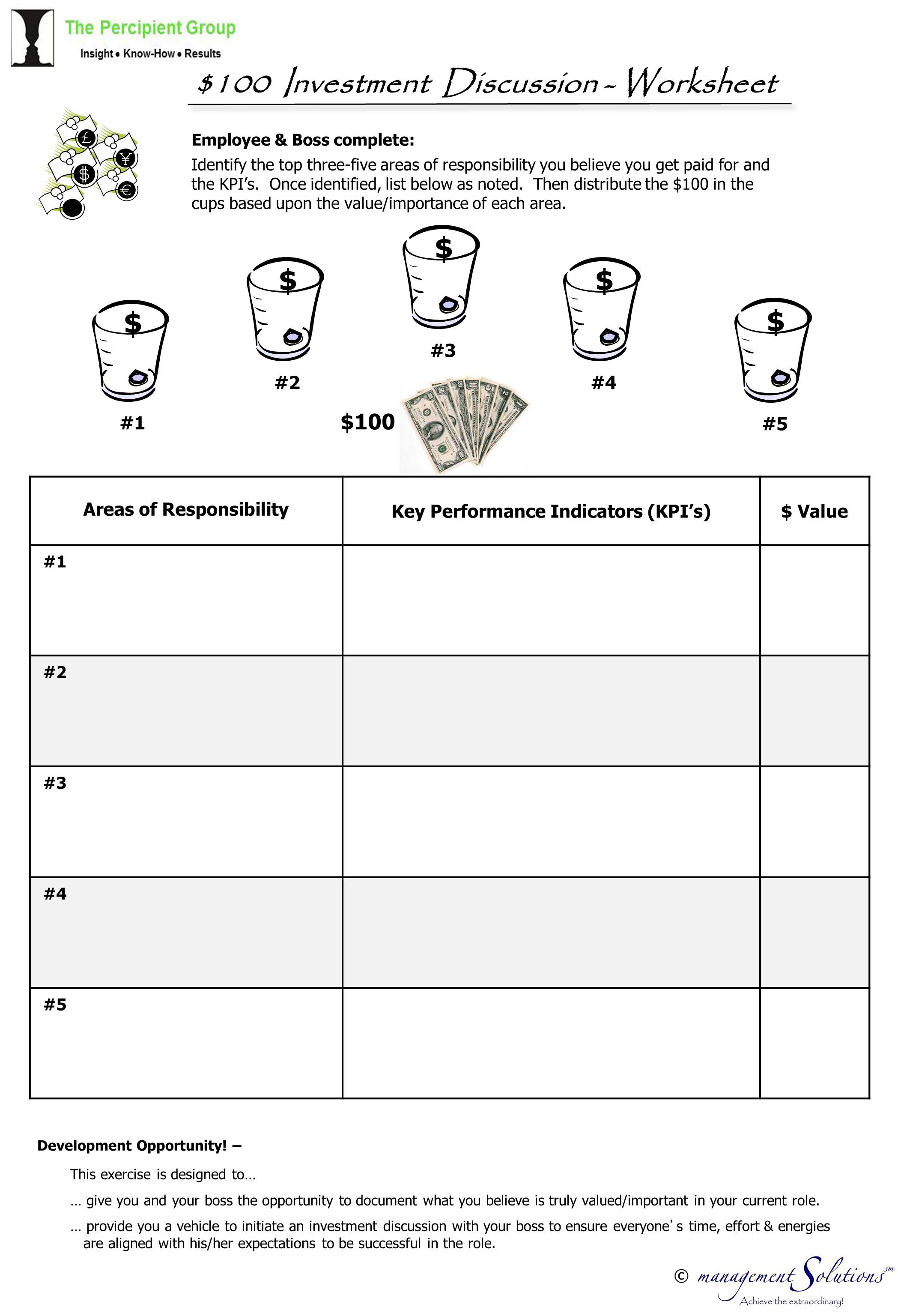 100 Investment Discussion Worksheet The Percipient Group