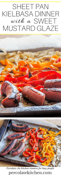 I love sheet pan dinner recipes- how can you not!? Especially this easy one-pan kielbasa, sweet red peppers, onions, brushed with a sweet mustard glaze.