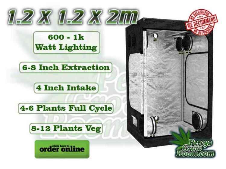 1.2 x 1.2 x 2m grow tent, 600 - 1k watt lighting, 6-8 inch extraction, 4 inch intake, 4-6 plant full cycle, 8-12 plants veg