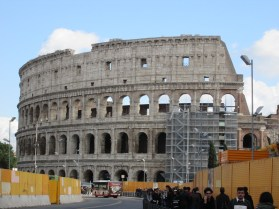 There's quite a bit of construction going on in this area right now- I think they're putting in a new metro line, plus there's some restoration going on at the Colosseum itself.