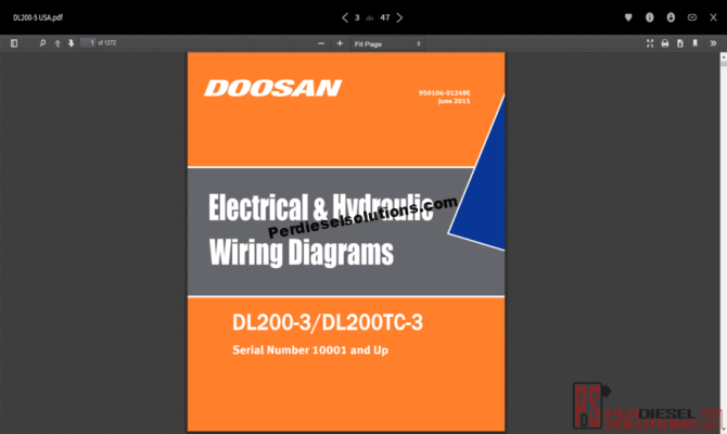 doosan electrical and hydraulic wiring diagrams all models