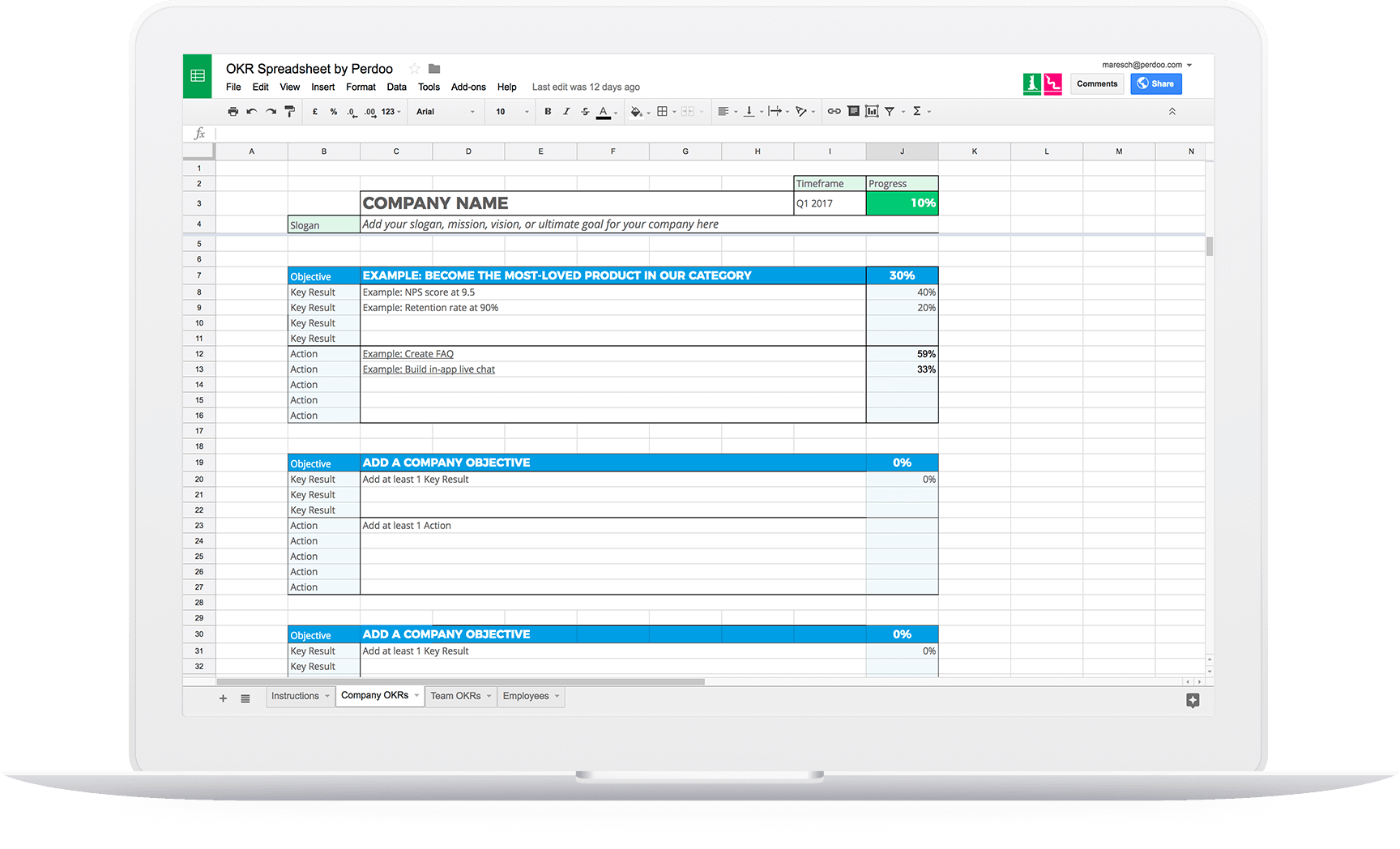 A Free Sheets Okr Template To Help You Manage Your