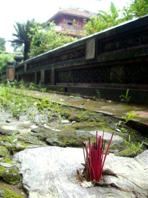 In Vietnam they don't mess around with incense. Why burn one stick at a time, when planting a whole bunch is just that much more awesome?