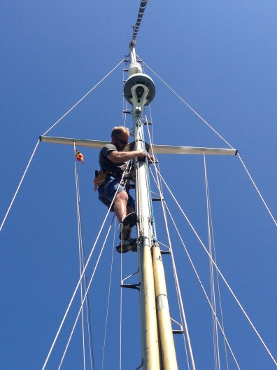 Joe goes up our mast...
