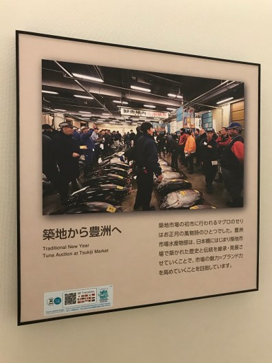 The viewing corridor is lined with photos from the old Tsukiji market - this one is the New Year market (the first offering of the year of a food is considered good luck, and often increases the price above standard market value).