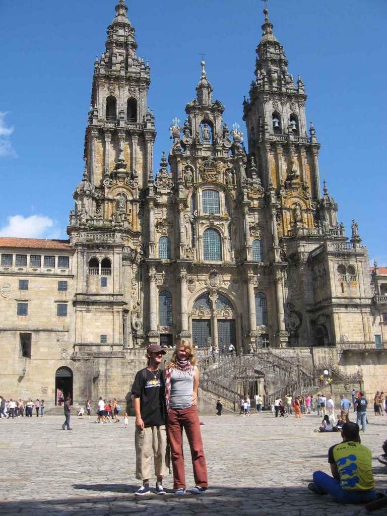 Przed katedrą w Santiago