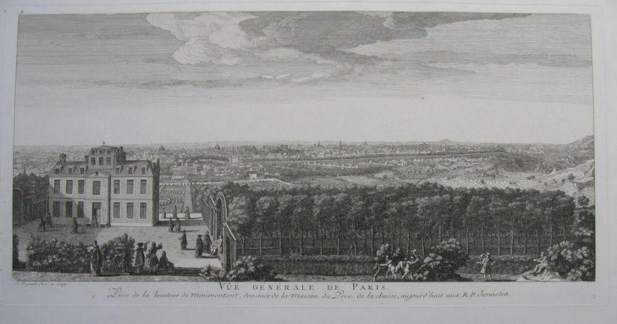 Vue générale de Paris vue de la hauteur de Ménilmontant dessinée de la maison du Père de La Chaise, par Jacques Rigaud vers 1720