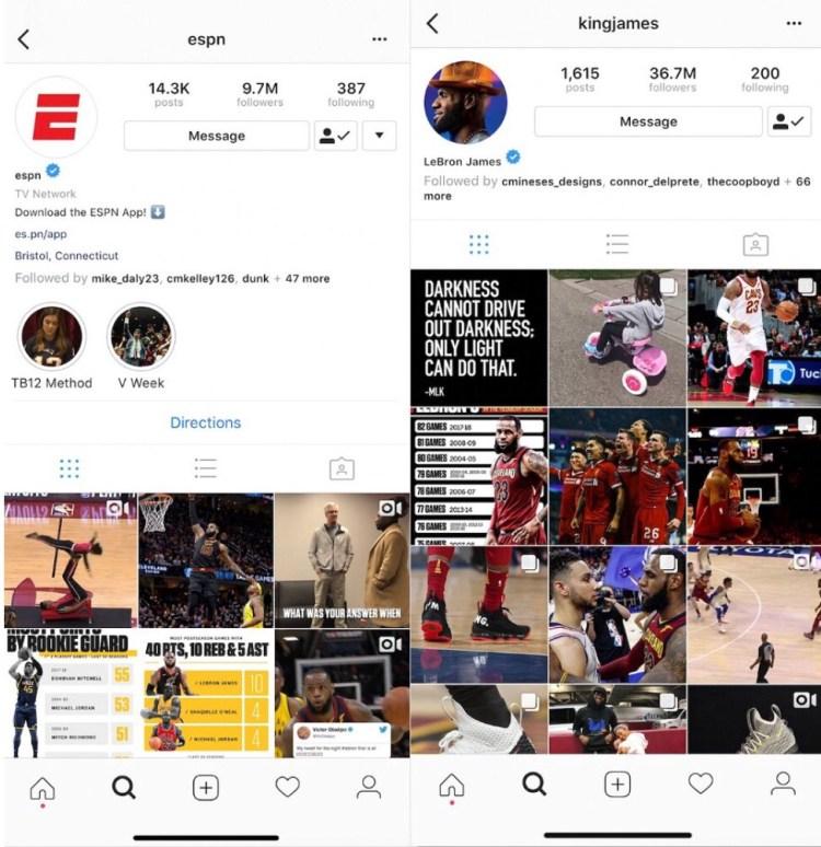 Source:  LeBron's Instagram   ESPN has 9.7 million followers; LeBron James has 36.7 million.