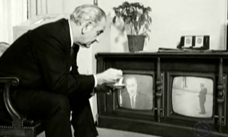 Image 7: President Lyndon Johnson, watching live at the White House.  Source