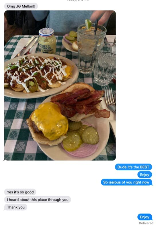 My conversation with Nick. But seriously… how good does that burger look?